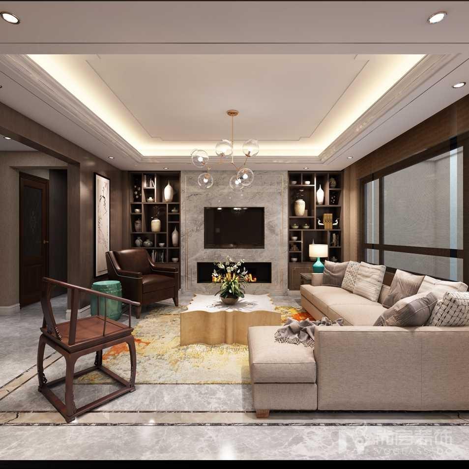 北京院子新中式负一层客厅别墅装修效果图