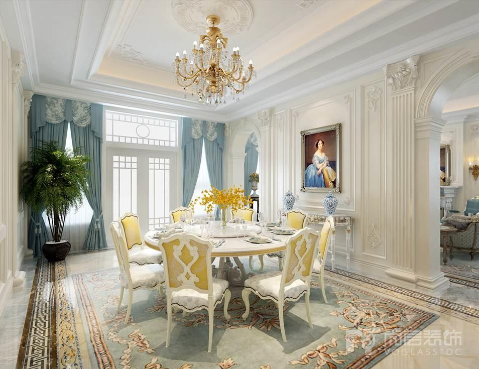 碧水庄园法式新古典餐厅别墅装修效果图图片