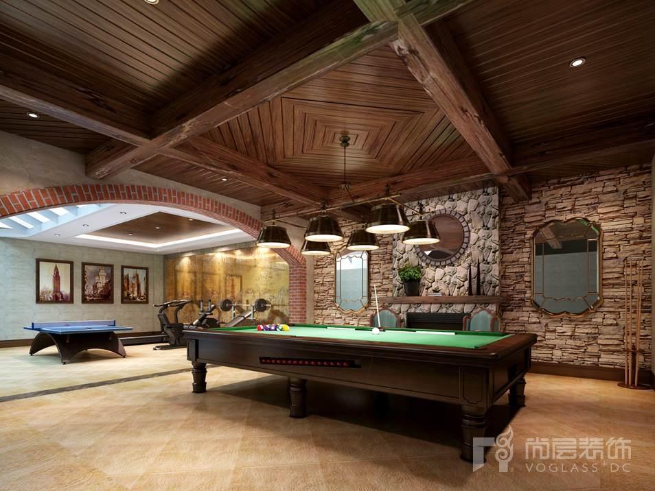 御汤山现代美式台球室别墅装修效果图