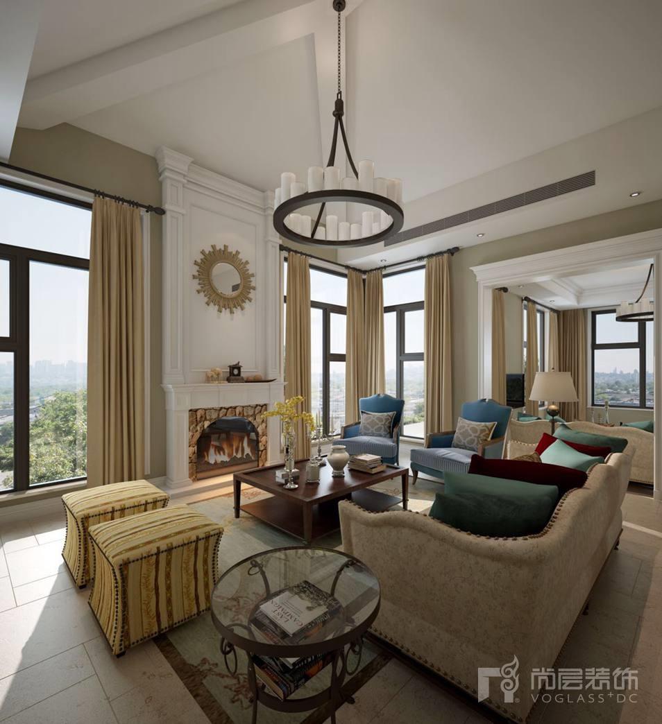 君山高尔夫现代美式会客厅别墅装修效果图