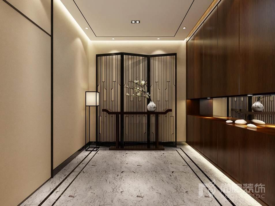 千章墅新中式门厅别墅装修效果图