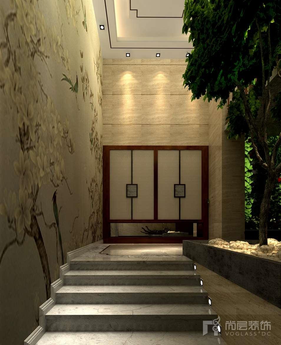 首开琅樾新中式门厅别墅装修效果图