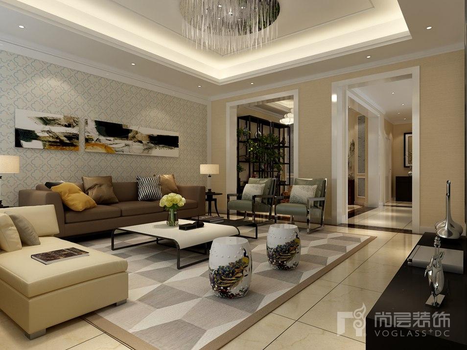 中海九号现代客厅别墅装修效果图