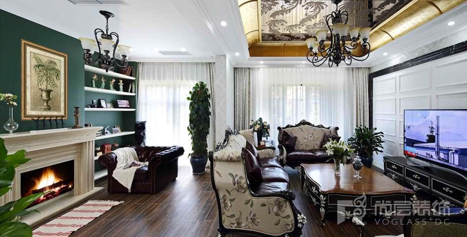 君山高尔夫美式客厅别墅装修实景图