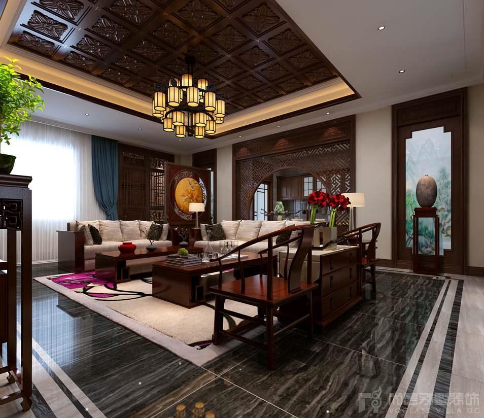 自建四合院新中式客厅别墅装修效果图图片