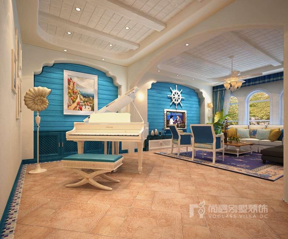 南湖一号地中海钢琴区别墅装修效果图