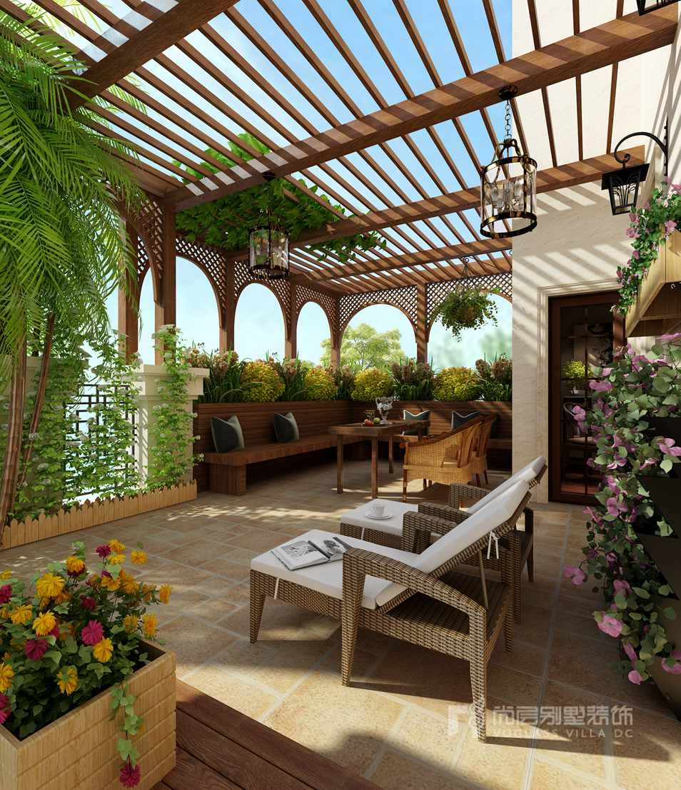 橘郡别墅简美式花园露台装修效果图