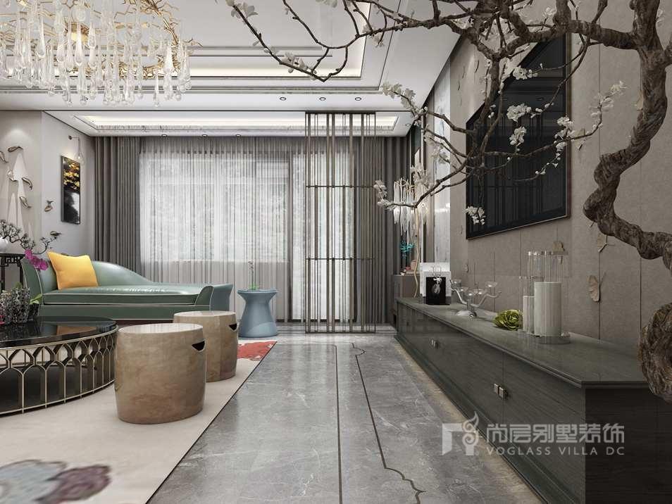 别墅装修设计效果图门厅采用高级灰来作为整个空间的基调,演绎时尚