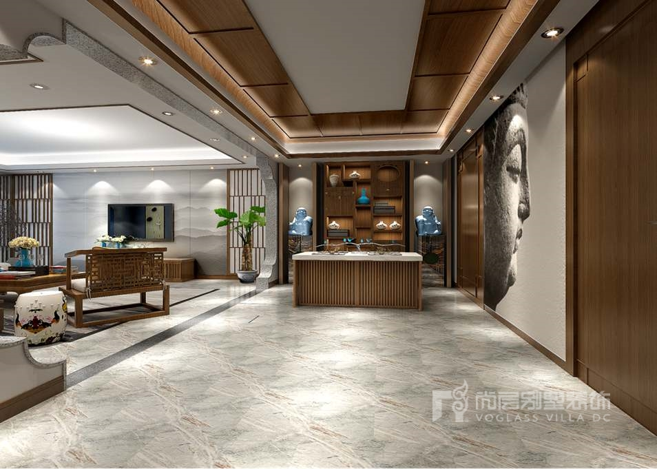 上京王府别墅新中式茶室装修效果图