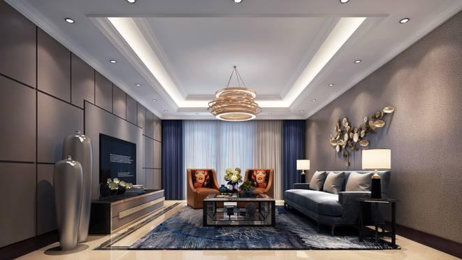 上河湾现代轻奢客厅装修设计效果图