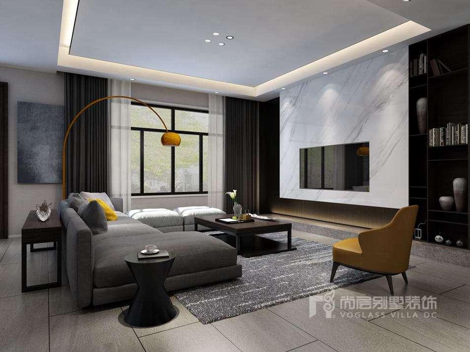 别墅装修效果图-现代简约风格客厅